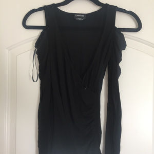 Women's Bebe S Black Cold Shoulder Top w/ Sleeves